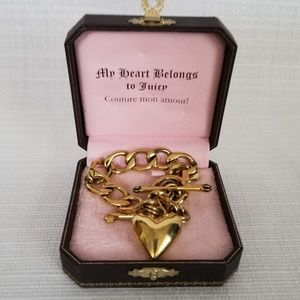Juicy Couture Gold Banner Heart Charm Bracelet